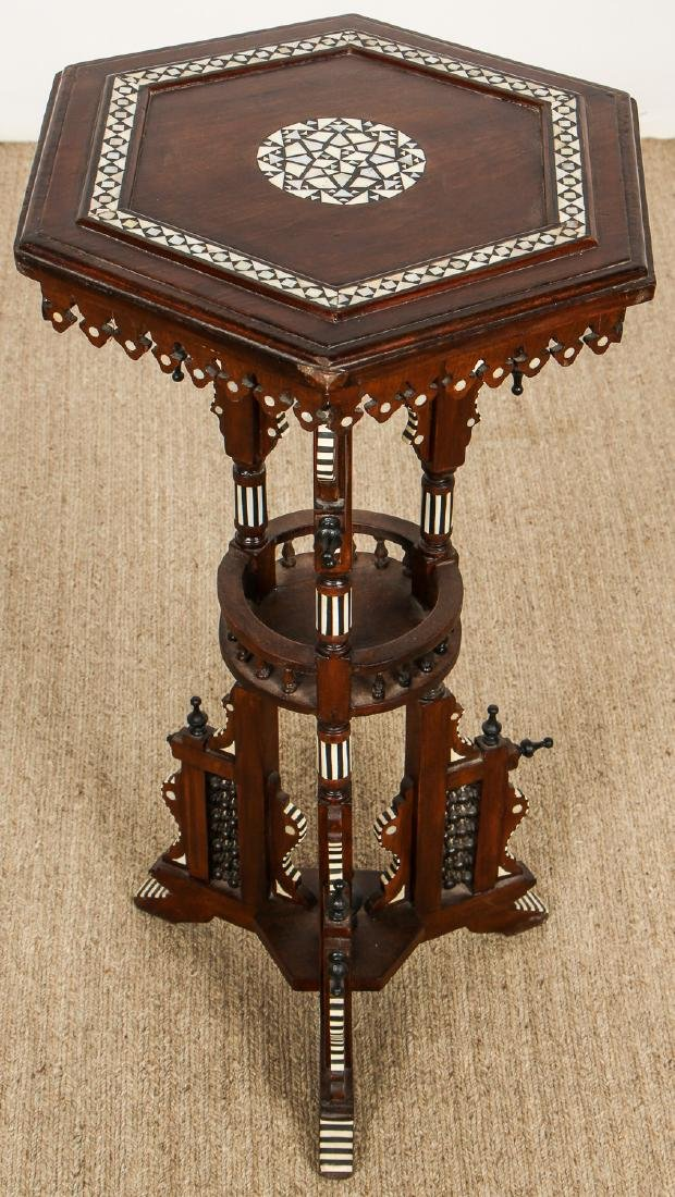 Old Syrian Wood and Inlay Table Stand - 2