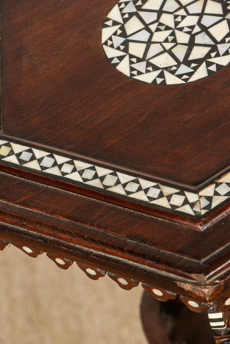 Old Syrian Wood and Inlay Table Stand - 3