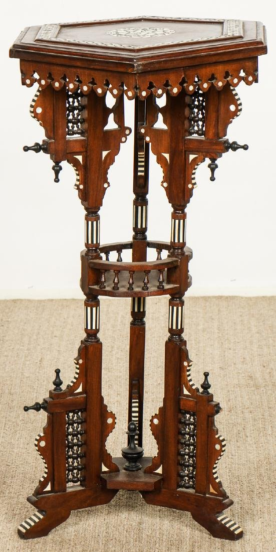 Old Syrian Wood and Inlay Table Stand - 5