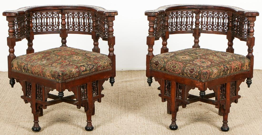 Pair of Old Syrian Wood and Inlay Round Back Chairs