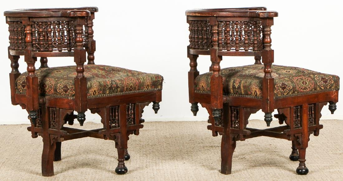 Pair of Old Syrian Wood and Inlay Round Back Chairs - 5