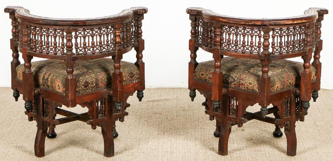Pair of Old Syrian Wood and Inlay Round Back Chairs - 6