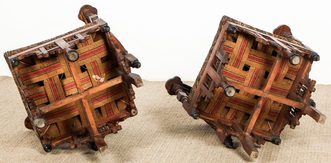 Pair of Old Syrian Wood and Inlay Round Back Chairs - 7