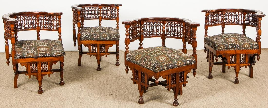 Set of 4 Old Syrian Wood and Inlay Round Back Chairs