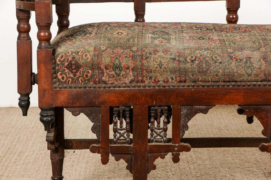 Old Syrian Wood and Inlay Settee - 4