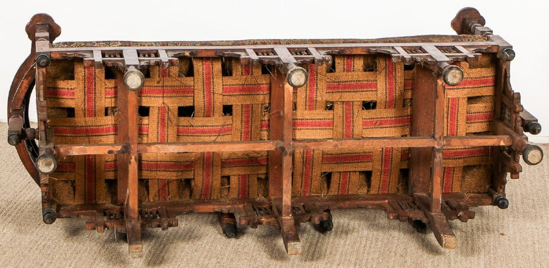 Old Syrian Wood and Inlay Settee - 7