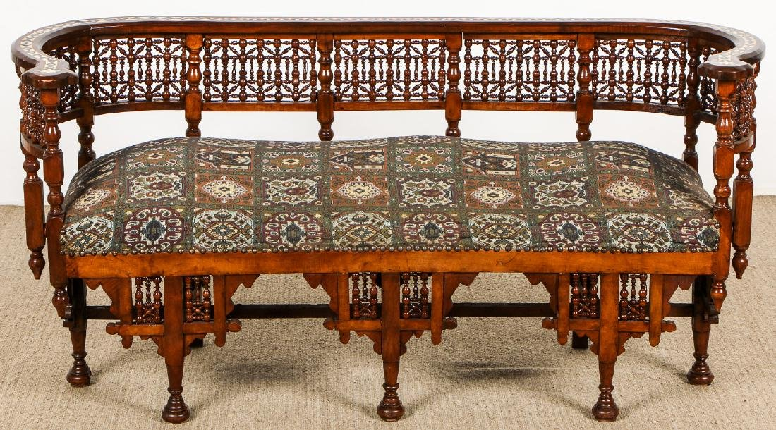 Old Syrian Wood and Inlay Settee