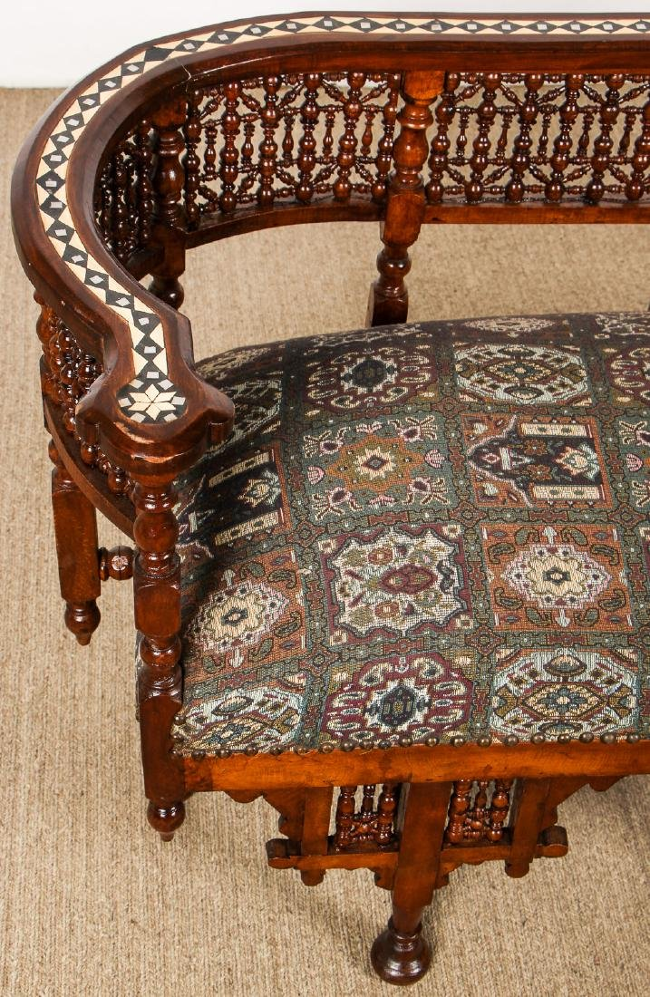 Old Syrian Wood and Inlay Settee - 2