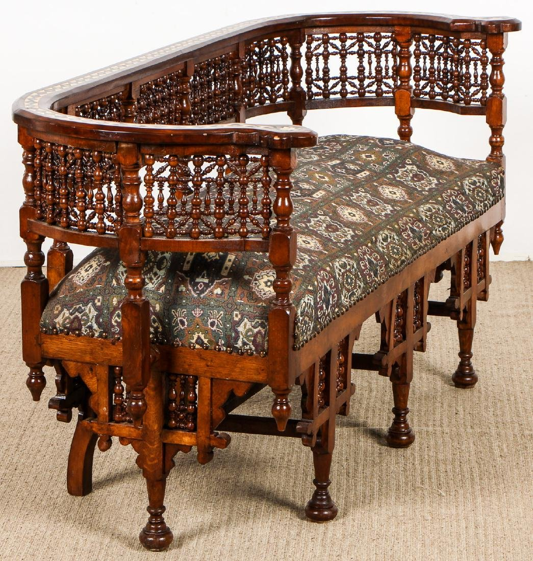 Old Syrian Wood and Inlay Settee - 5
