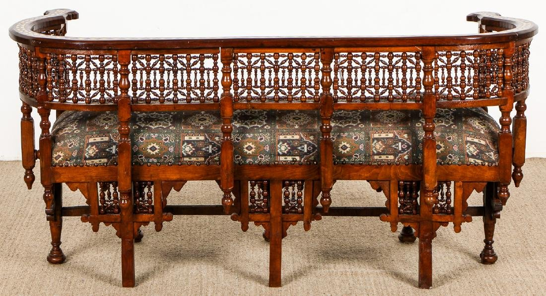 Old Syrian Wood and Inlay Settee - 6