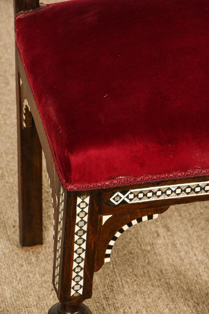 Pair of Old Syrian Wood and Inlay Side Chairs - 4