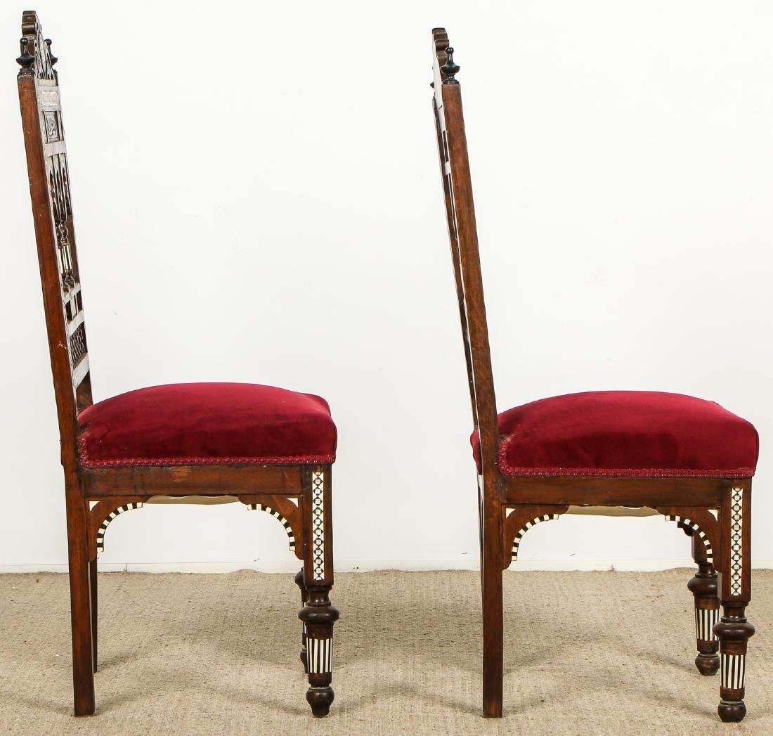 Pair of Old Syrian Wood and Inlay Side Chairs - 6