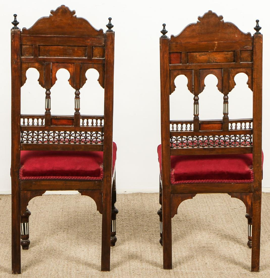 Pair of Old Syrian Wood and Inlay Side Chairs - 7