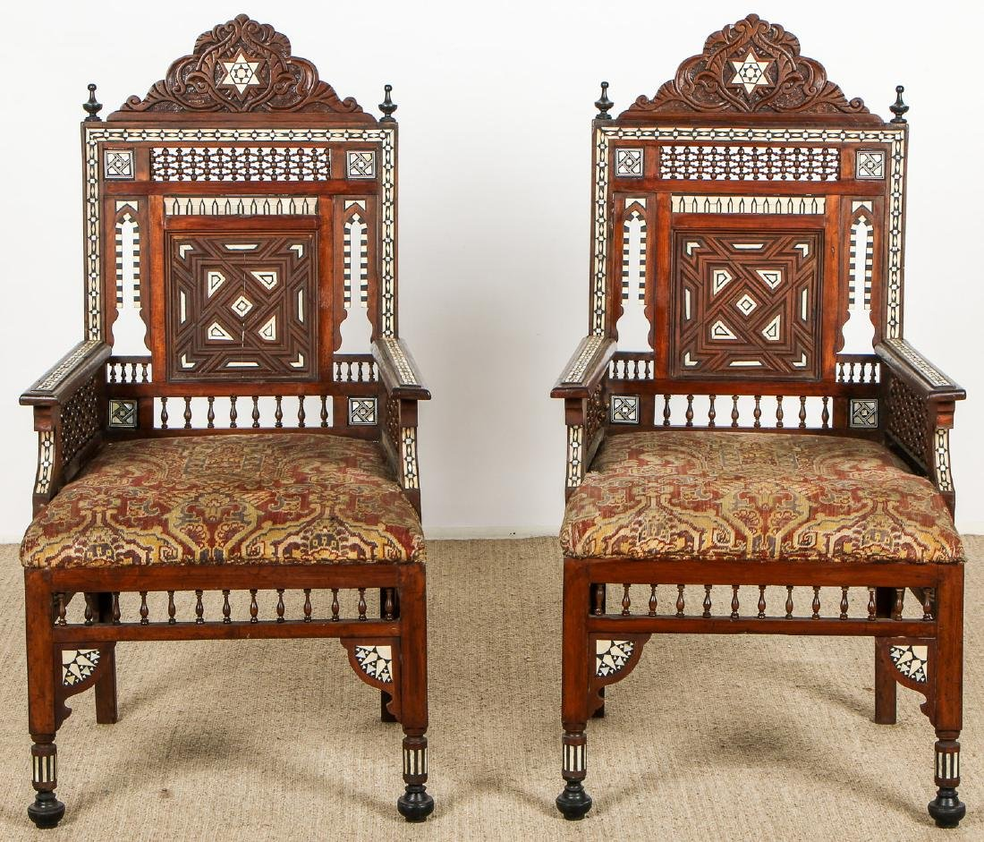 Pair of Old Syrian Wood and Inlay Armchairs