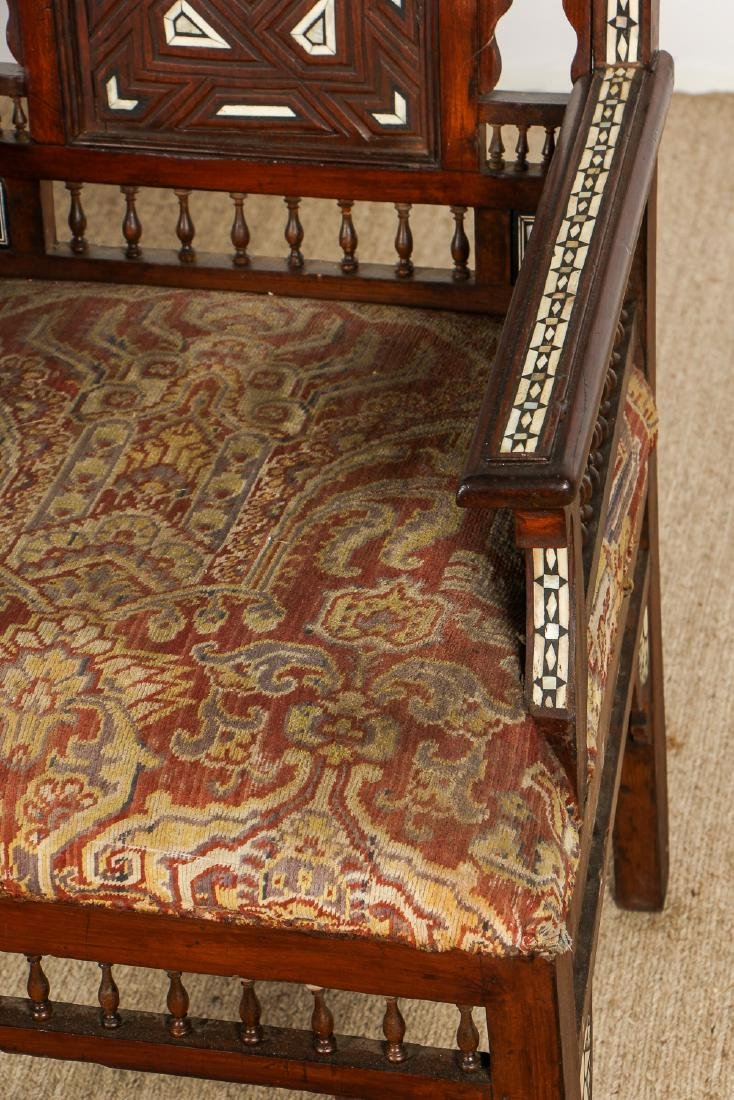 Pair of Old Syrian Wood and Inlay Armchairs - 4