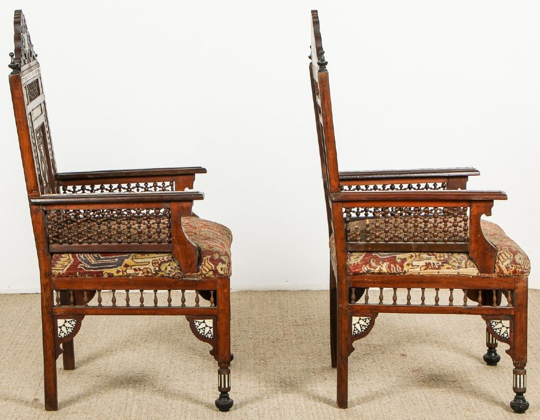 Pair of Old Syrian Wood and Inlay Armchairs - 7