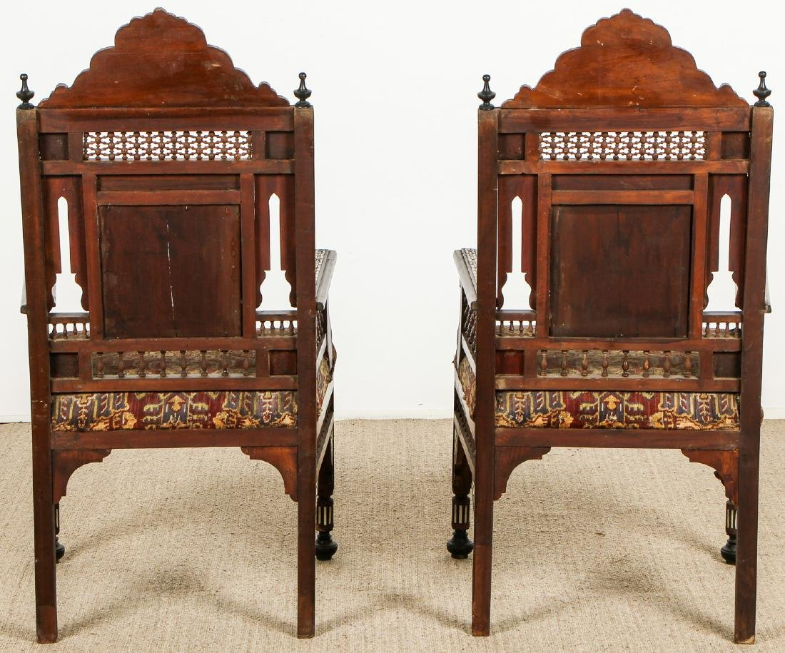 Pair of Old Syrian Wood and Inlay Armchairs - 8