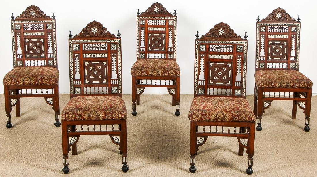 Set of 5 Old Syrian Wood and Inlay Armchairs