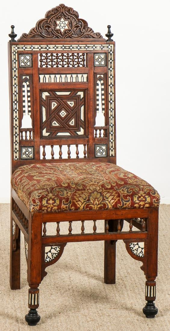 Set of 5 Old Syrian Wood and Inlay Armchairs - 2