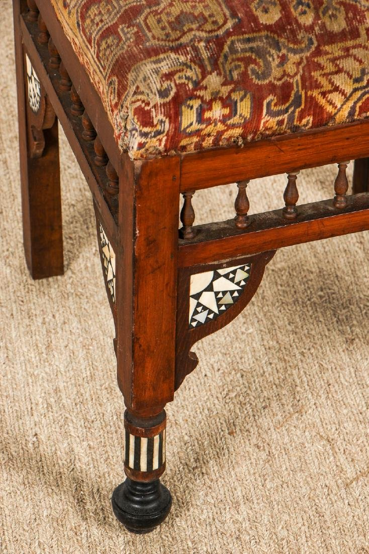 Set of 5 Old Syrian Wood and Inlay Armchairs - 5