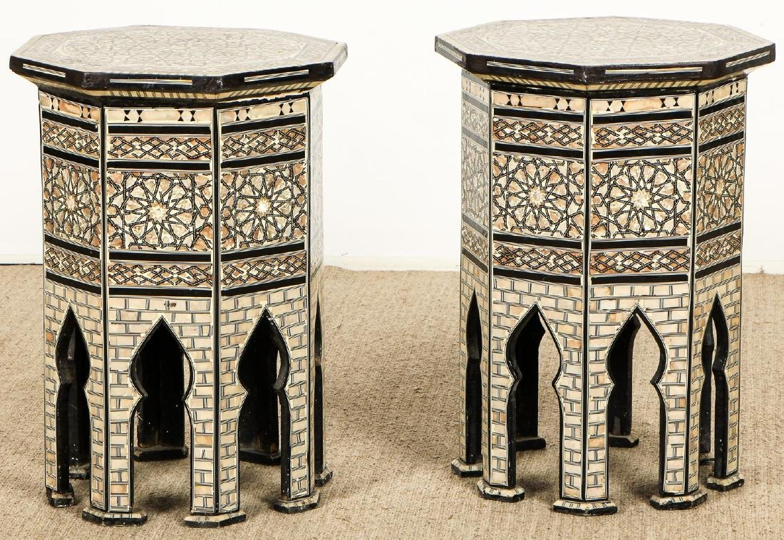 Pair of Old Syrian Octagonal Wood and Inlay Side Tables