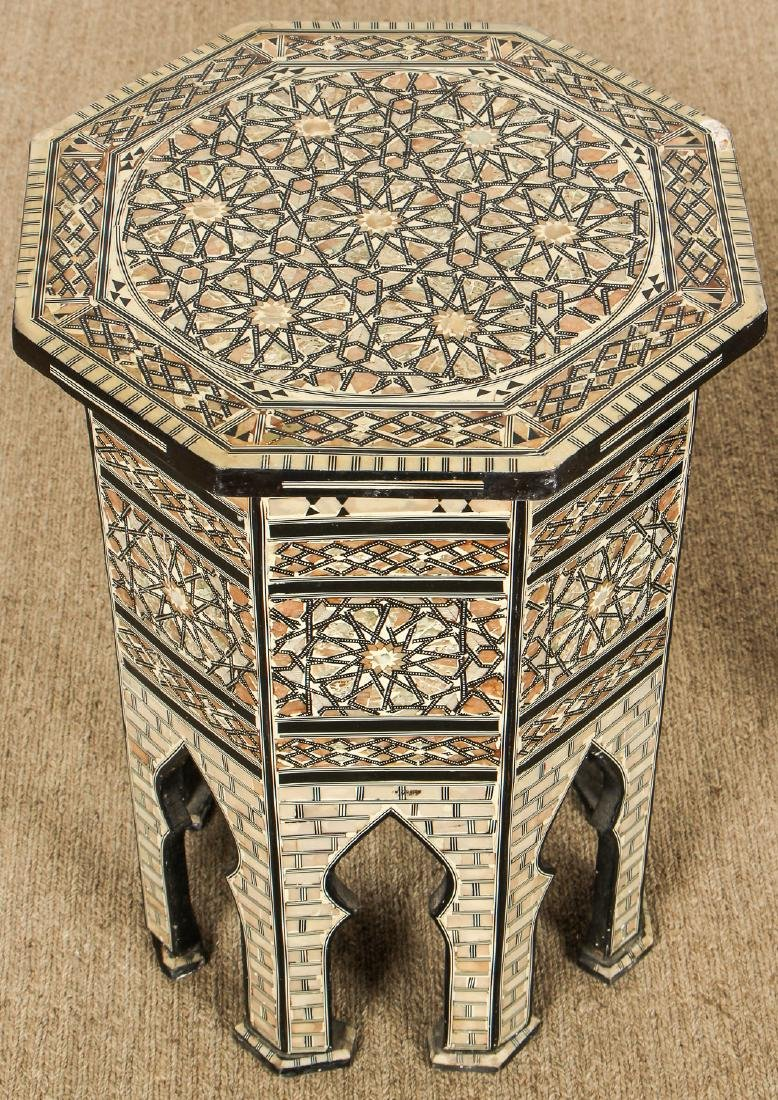 Pair of Old Syrian Octagonal Wood and Inlay Side Tables - 2