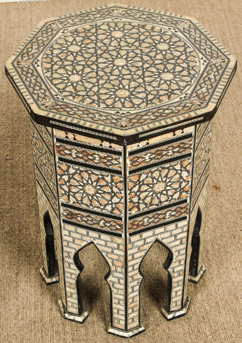 Pair of Old Syrian Octagonal Wood and Inlay Side Tables - 4