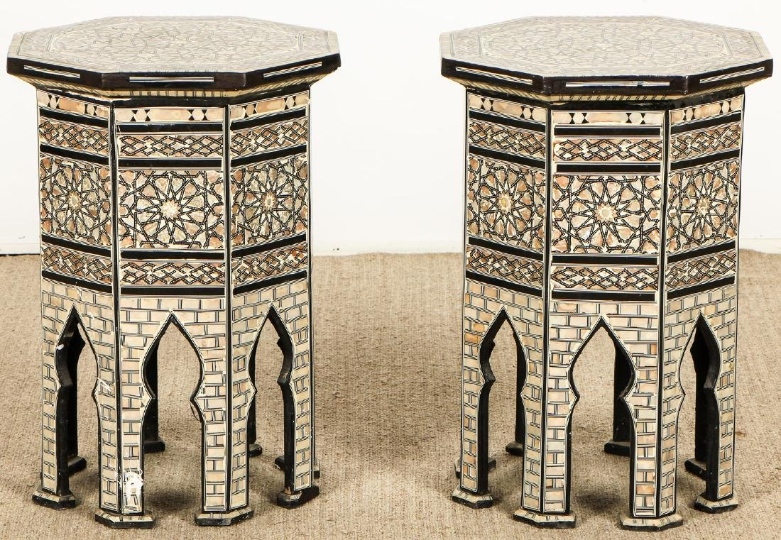 Pair of Old Syrian Octagonal Wood and Inlay Side Tables - 6