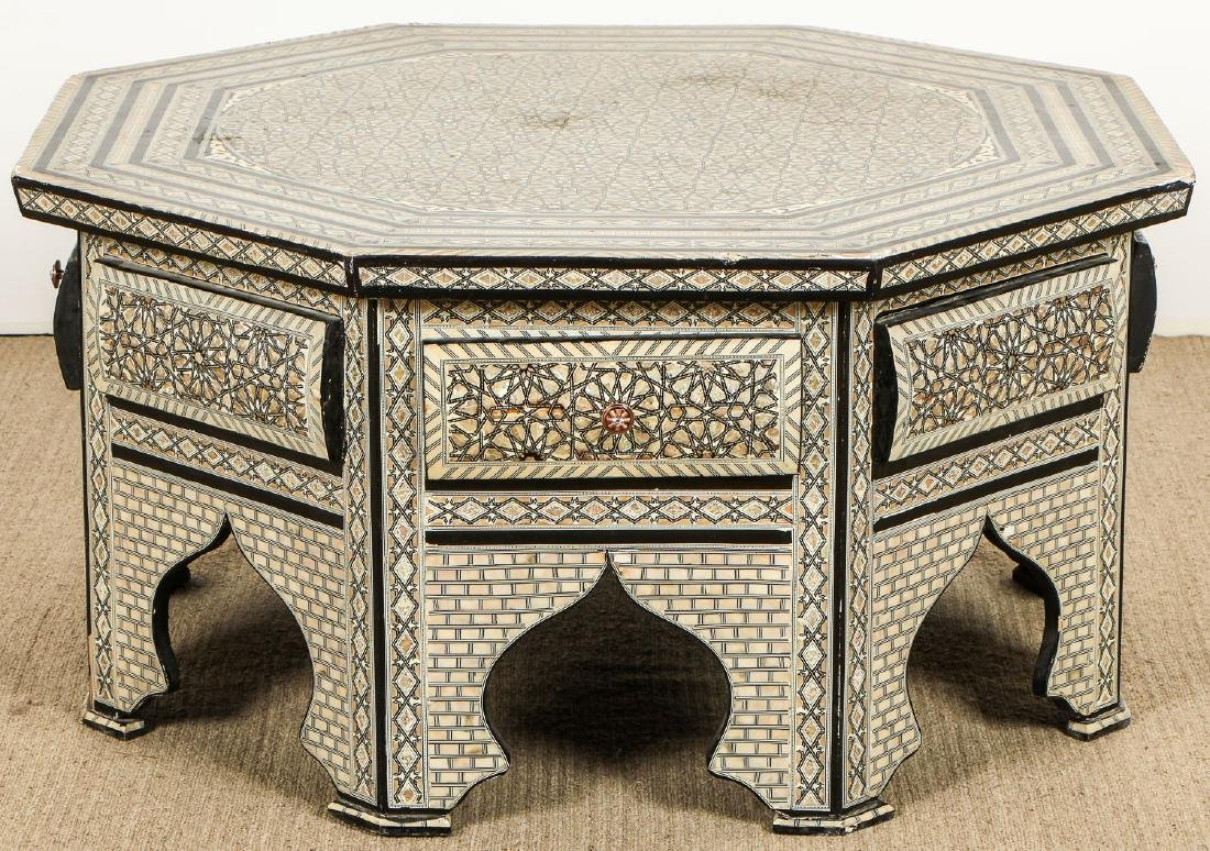 Old Syrian Octagonal Wood and Inlay Low Table with