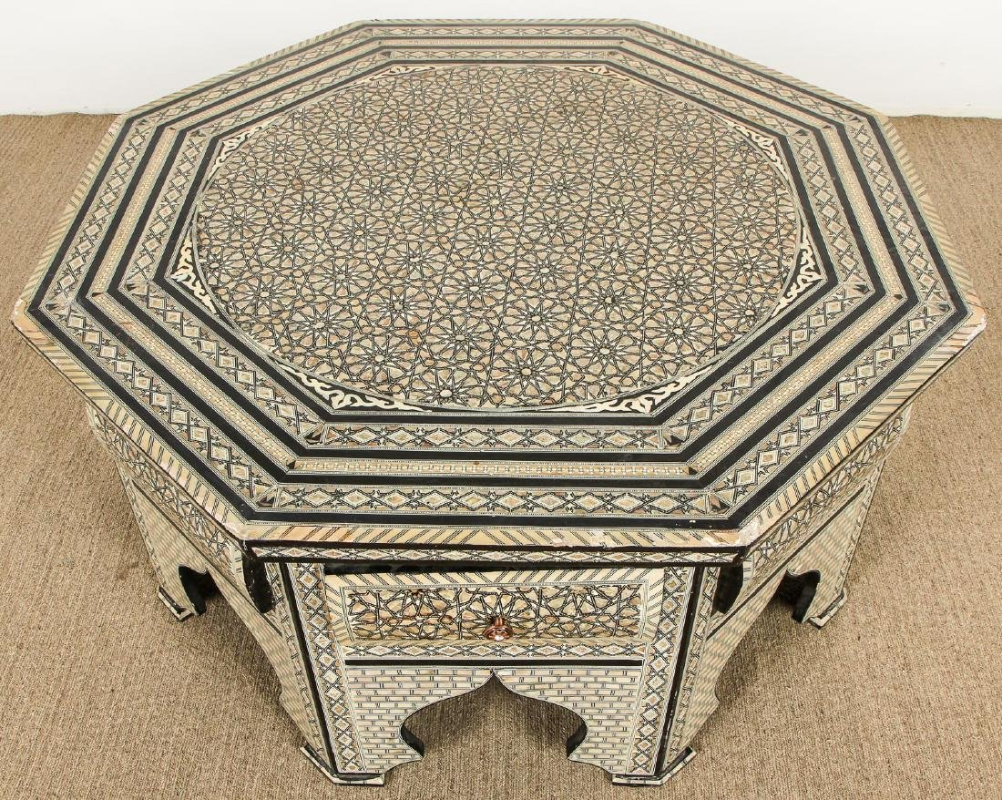 Old Syrian Octagonal Wood and Inlay Low Table with - 2