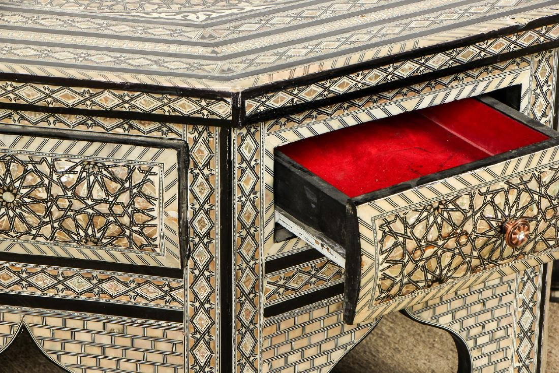 Old Syrian Octagonal Wood and Inlay Low Table with - 4