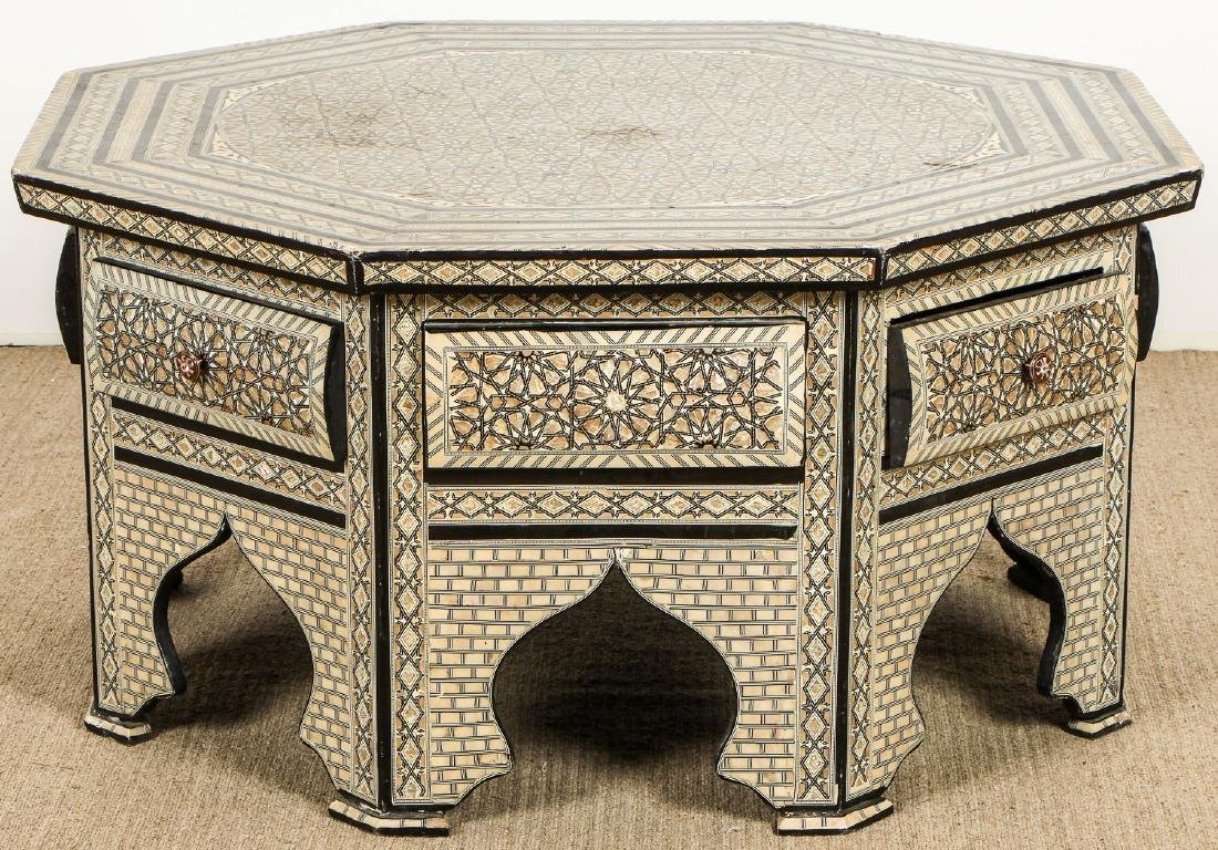 Old Syrian Octagonal Wood and Inlay Low Table with - 5