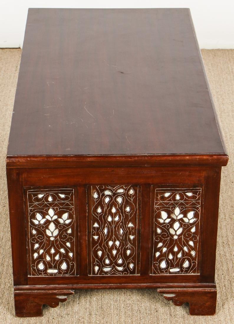 Old Syrian Wood and Inlay Blanket Chest - 6