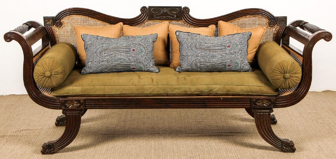 Mid 19th c. Anglo-Indian Rosewood Caned Sofa