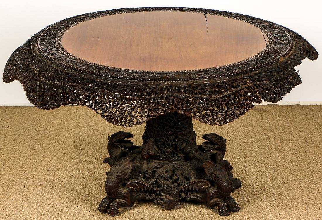 Antique Chinese Heavily Carved Round Table