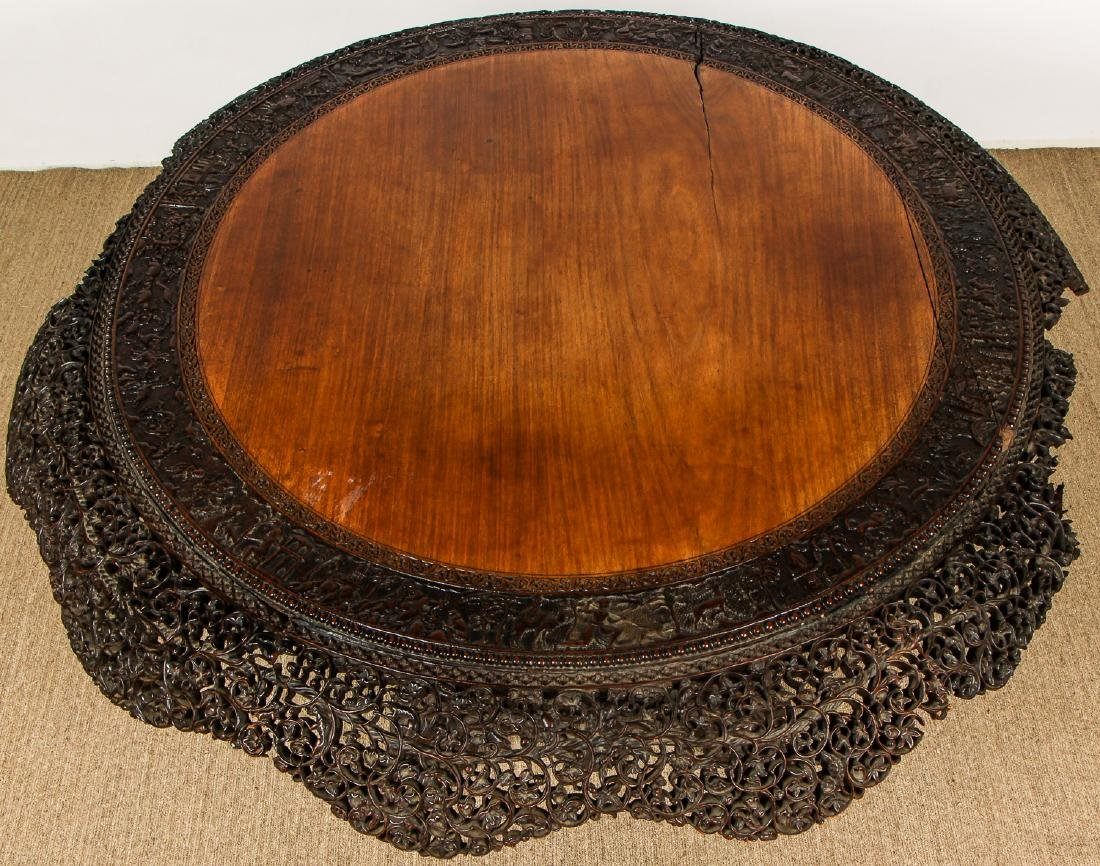 Antique Chinese Heavily Carved Round Table - 3