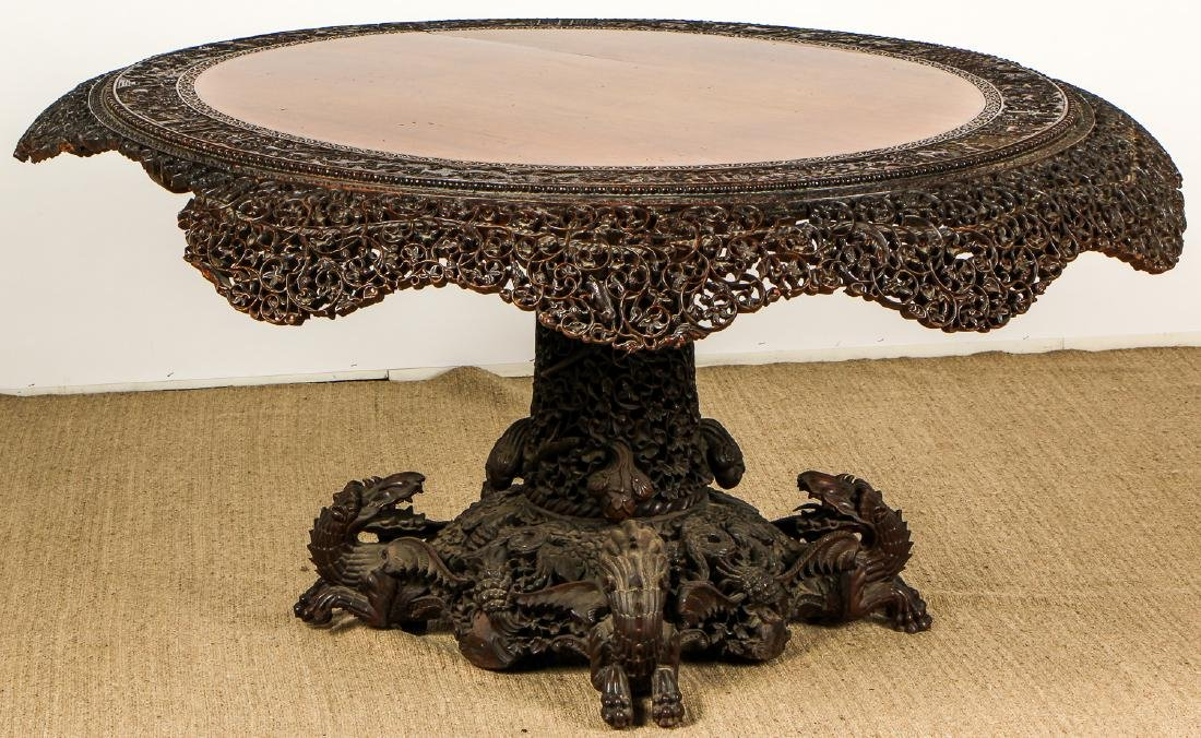 Antique Chinese Heavily Carved Round Table - 6