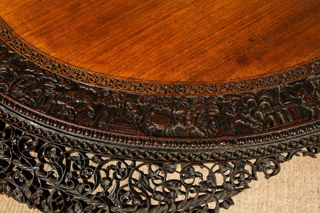 Antique Chinese Heavily Carved Round Table - 8