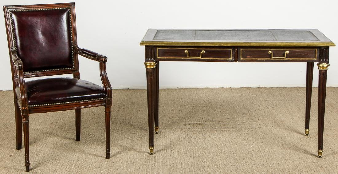 Vintage Louis XVI Style Leather Top Desk and Leather