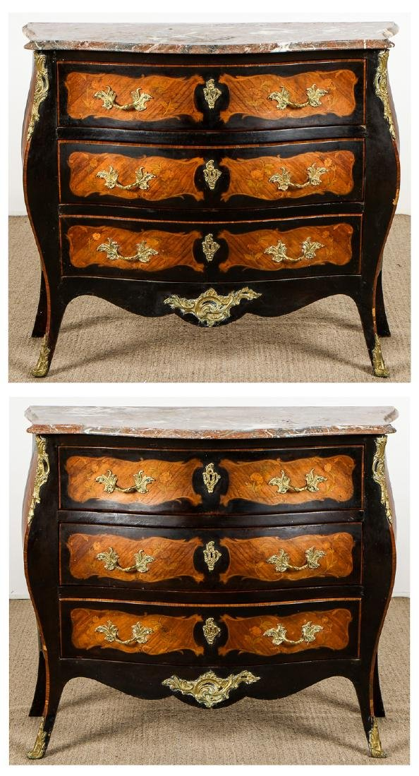 2 Italian Marble Top Commode Chests