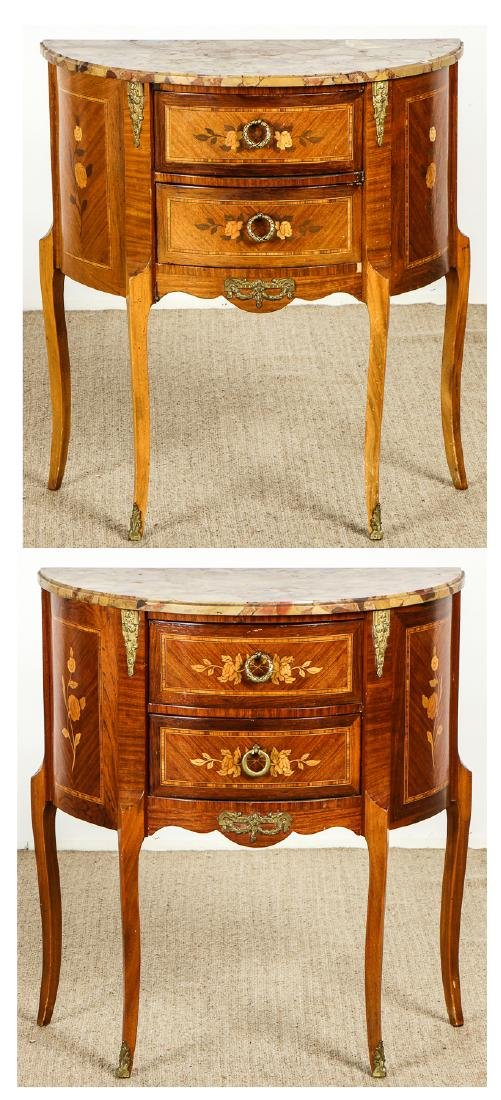 Pair of French Louis XVI Style Marble Top Nightstands
