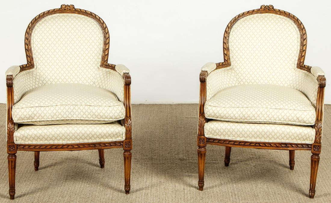 Pair of Louis XV Style Carved Wood Chairs/Fauteuils