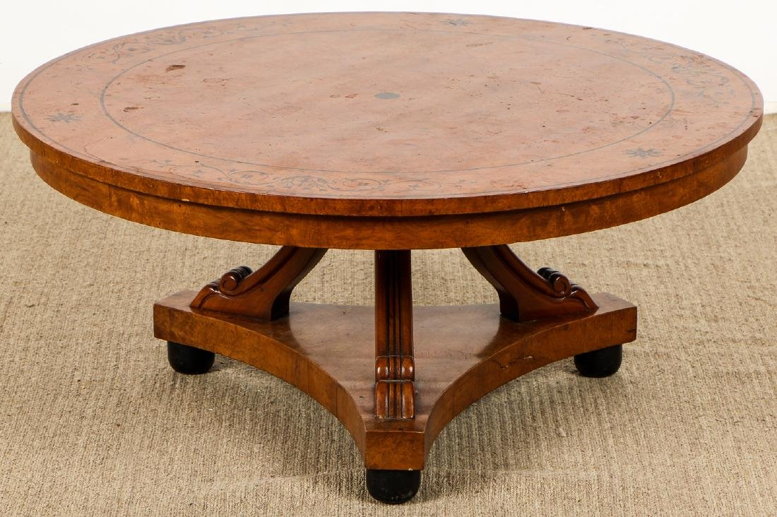 Regency Style Inlaid Wood Marquetry Coffee Table