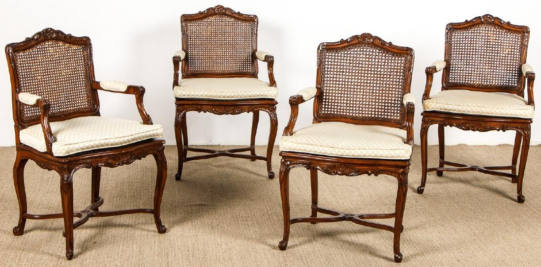 4 Louis XVI Style Carved Wood Cane Back Armchairs