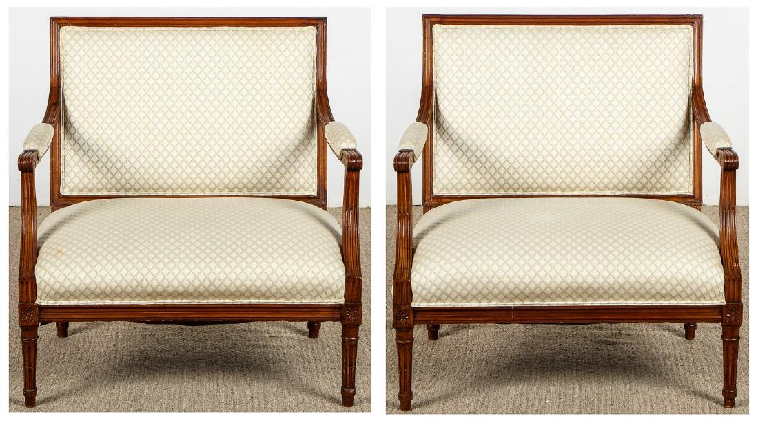 2 Continental Wood Upholstered Armchairs