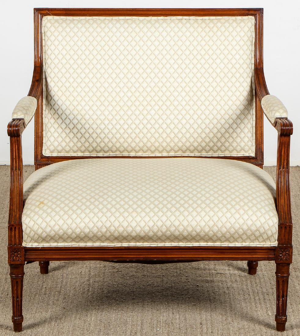 2 Continental Wood Upholstered Armchairs - 2