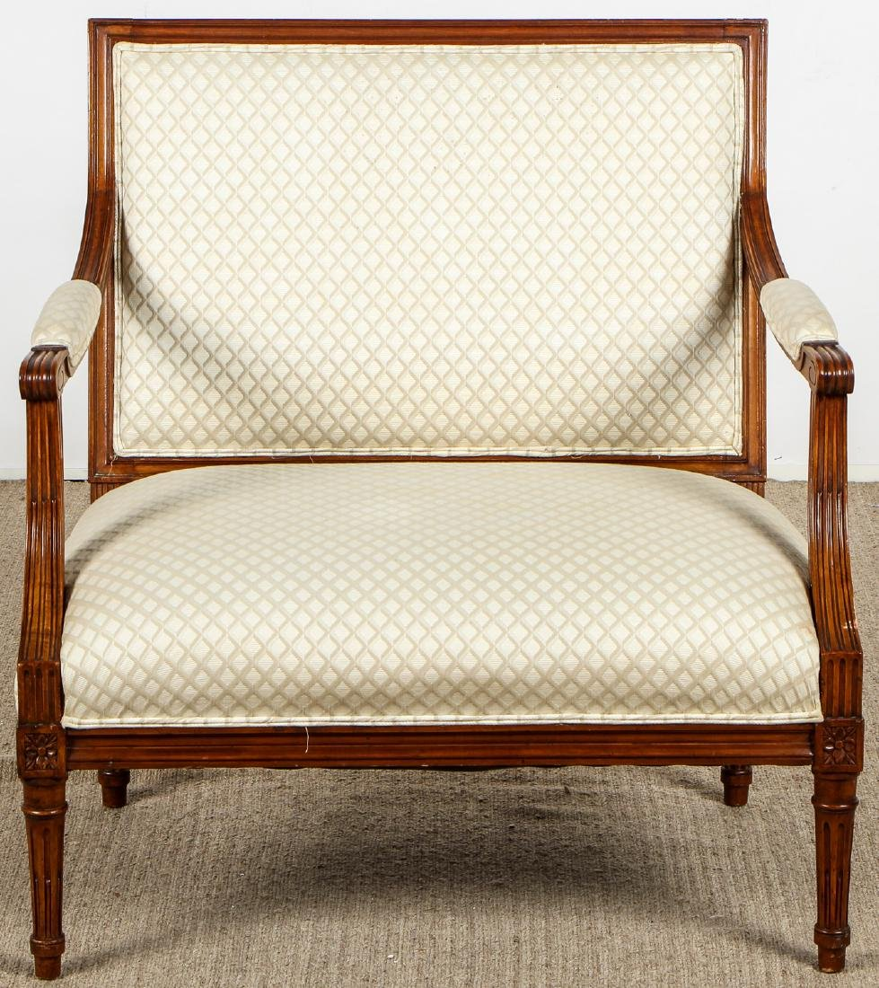 2 Continental Wood Upholstered Armchairs - 8