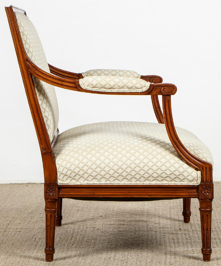 2 Continental Wood Upholstered Armchairs - 9