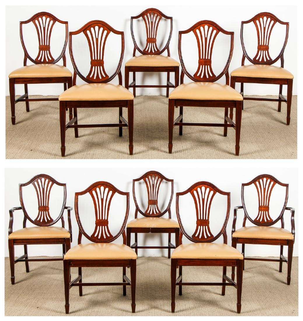 Set of 10 Federal Style Dining Chairs w. Leather Seats