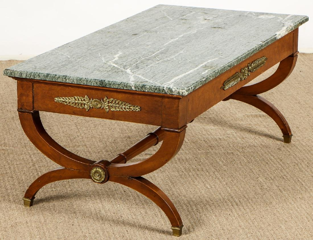 Continental Marble Top Coffee Table with Ormolu Mounts - 4